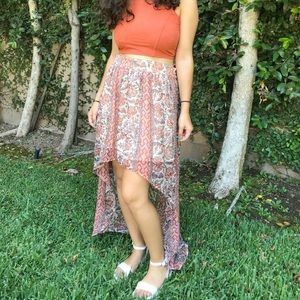 Urbane Outfitters Orange-Toned High-Low Skirt